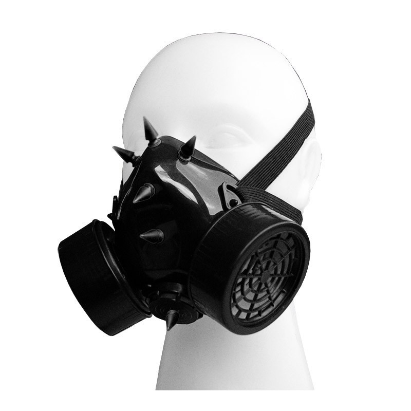 Steampunk Gasmaske schwarze UV Spikes