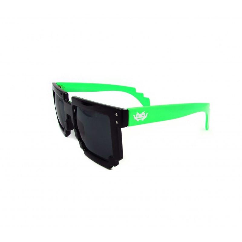 8 - BIT schwarz/grün Pixel Sonnenbrille