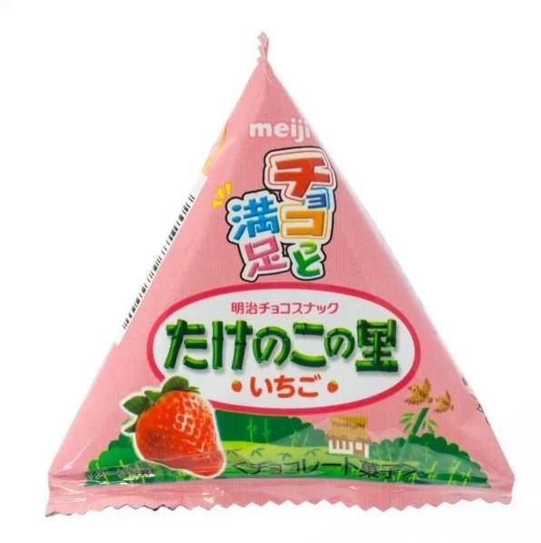 Meiji Takenoko Bamboo-shaped Strawberry 16g Chocolate Biscuits